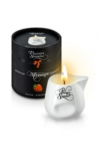 Массажная свеча Plaisirs Secrets Strawberry, клубника, 80 мл